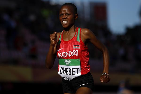 Beatrice Chebet on her way to winning the world U20 5000m title. PHOTO/IAAF