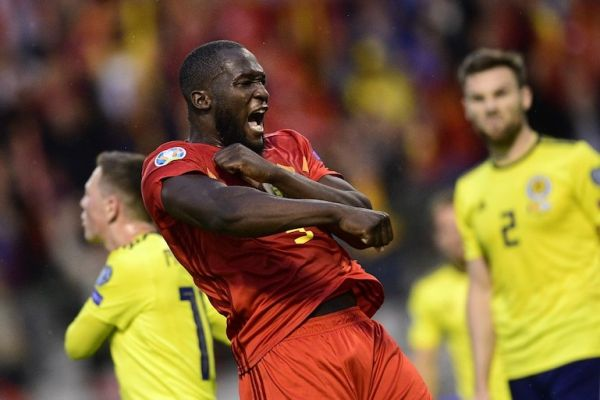 Belgium's Romelu Lukaku celebrates after scoring during a soccer game between Belgian national team the Red Devils and Scotland, Tuesday 11 June 2019 in Brussels, an UEFA Euro 2020 qualification game. PHOTO/AFP