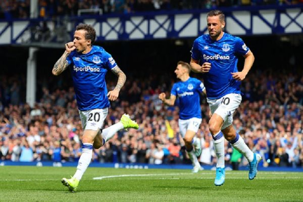 Bernard of Everton celebrates scoring the opening goal during the Premier League match between Everton FC and Watford FC at Goodison Park on August 17, 2019 in Liverpool, United Kingdom. PHOTO/ GETTY IMAGES