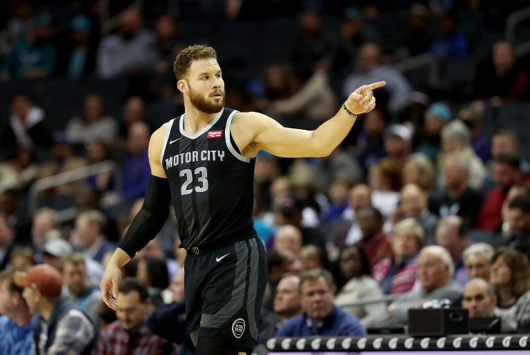 Blake Griffin of the Detroit Pistons reacts against the Charlotte Hornets during their game at Spectrum Center on December 12, 2018 in Charlotte, North Carolina. PHOTO/AFP
