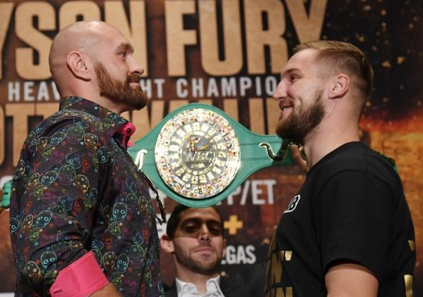 Boxers Tyson Fury (L) and Otto Wallin face off during a news conference at MGM Grand Hotel & Casino on September 11, 2019 in Las Vegas, Nevada. The two will meet in a heavyweight bout on September 14 at T-Mobile Arena in Las Vegas. PHOTO | AFP