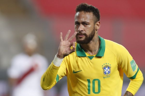 Brazil's Neymar celebrates after scoring against Peru during their 2022 FIFA World Cup South American qualifier football match at the National Stadium in Lima, on October 13, 2020, amid the COVID-19 novel coronavirus pandemic. PHOTO | AFP