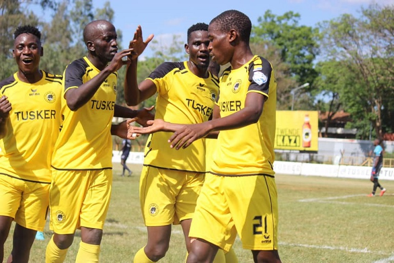 CAPTION: Tusker FC talisman,Sydney Ochieng (right), celebrates his brace against visiting Vihiga United FC with team-mates at Ruaraka Stadium in Nairobi on January 2, 2019.PHOTO/TUSKER FC
