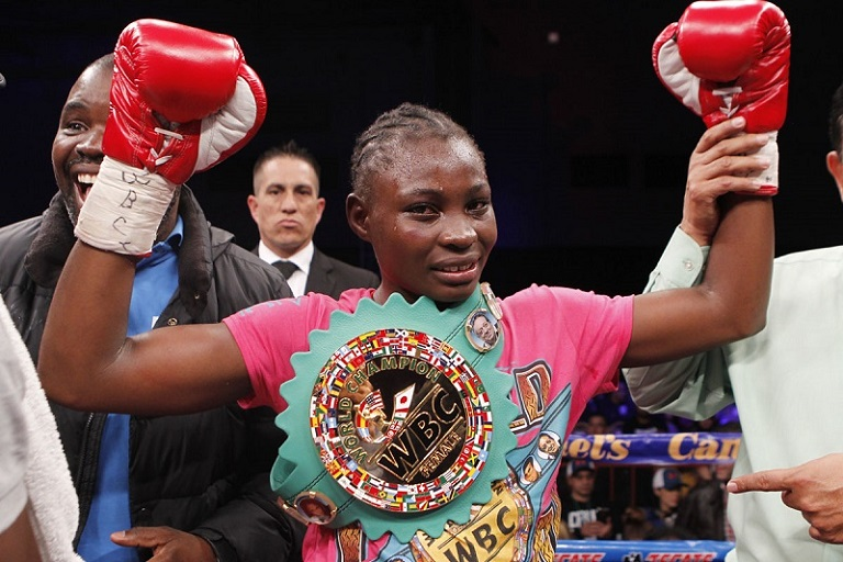 Catherine Phiri when she won the WBC Women Super Bantamweight title  against Yazmin Rivas in Tijuana, Mexico on January 30, 2016. PHOTO/SPN
