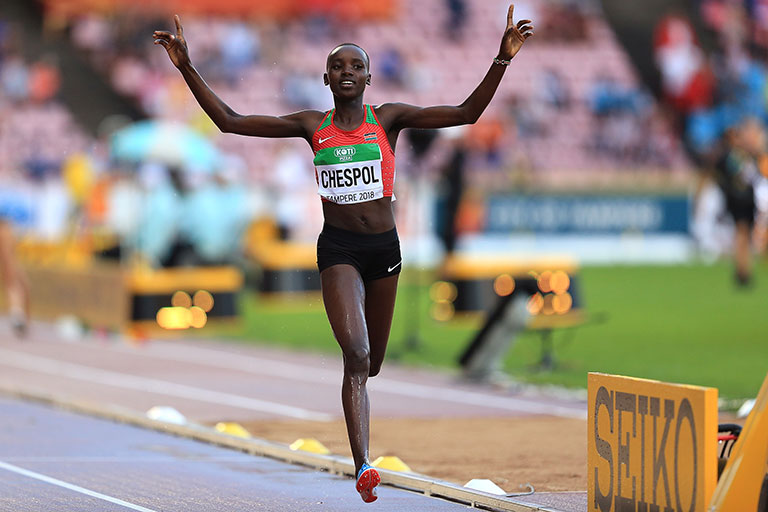 Celiphine Chepteek Chepsol of Kenya crosses the line to win gold in the final of the women's 3000m steeplechase on day four of The IAAF World U20 Championships on July 13, 2018 in Tampere, Finland. PHOTO/ Stephen Pond/Getty Images for IAAF