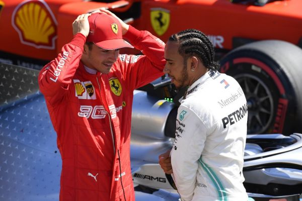 Charles Leclerc of Monaco Scuderia Ferrari Mission Winnow and Lewis Hamilton of Great Britain and Mercedes AMG Petronas F1 Team Mercedes during the Pirelli GP de France 2019 at Circuit Paul Ricard on June 22, 2019 in Le Castellet, France. PHOTO | AFP