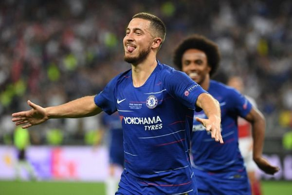 Chelsea's Belgian midfielder Eden Hazard celebrates after scoring a goal during the UEFA Europa League final football match between Chelsea FC and Arsenal FC at the Baku Olympic Stadium in Baku, Azerbaijian, on May 29, 2019. PHOTO | AFP
