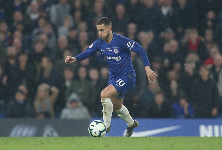 Chelsea's Eden Hazard during the Premier League match between Chelsea FC and West Ham United at Stamford Bridge on April 8, 2019 in London, United Kingdom.PHOTO/GETTY IMAGES