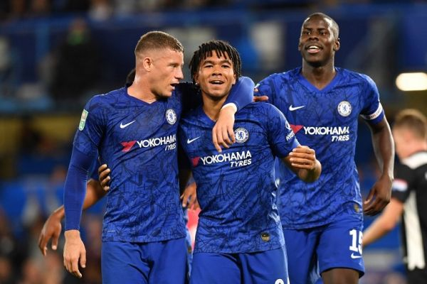 Chelsea's English defender Reece James (C) celebrates with teammates after scoring his team's fifth goal during the English League Cup third round football match between Chelsea and Grimsby Town at Stamford Bridge in south west London, on September 25, 2019. PHOTO | AFP