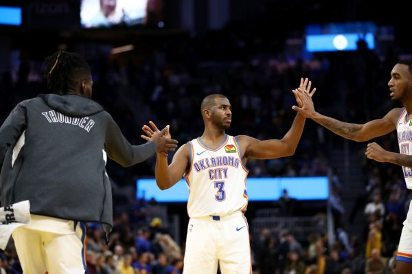 Chris Paul #3 of the Oklahoma City Thunder is congratulated by Nerlens Noel #9 and Terrance Ferguson #23 after they beat the Golden State Warriors at Chase Center on November 25, 2019 in San Francisco, California. PHOTO | AFP
