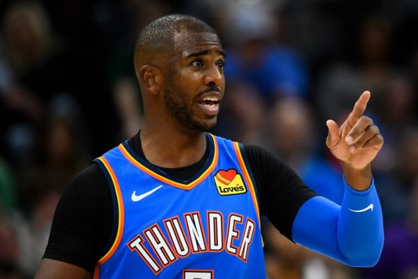 Chris Paul #3 of the Oklahoma City Thunder looks on during an opening night game against the Oklahoma City Thunder at Vivint Smart Home Arena on October 23, 2019 in Salt Lake City, Utah. PHOTO | AFP