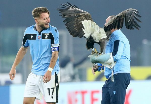 Ciro Immobile of Lazio celebrates at the end of the match with the mascotte Olimpia and his trainer at the end of the Serie A match SS Lazio v Fc Internazionale of Milano at the Olimpico Stadium in Rome, Italy on February 16, 2020. PHOTO   AFP