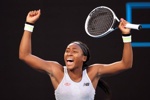 Coco Gauff of the US celebrates after victory against Japan's Naomi Osaka during their women's singles match on day five of the Australian Open tennis tournament in Melbourne on January 24, 2020. PHOTO | AFP