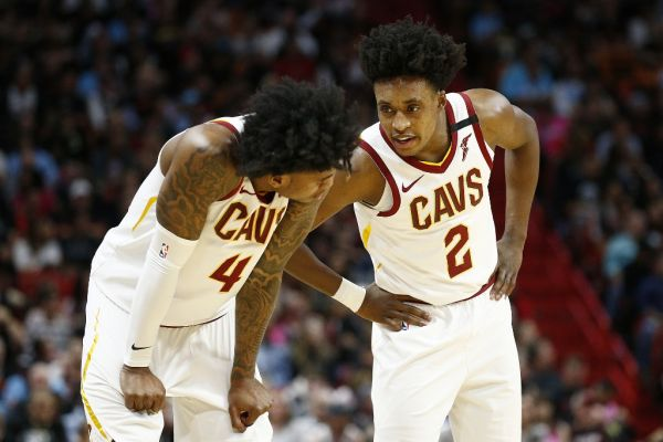 Collin Sexton #2 of the Cleveland Cavaliers talks with Kevin Porter Jr. #4 against the Miami Heat during the first half at American Airlines Arena on February 22, 2020 in Miami, Florida. PHOTO | AFP