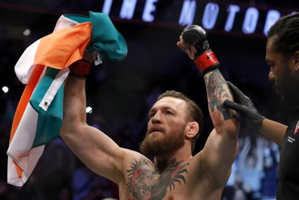 Conor McGregor celebrates after defeating Donald Cerrone in a welterweight bout during UFC246 at T-Mobile Arena on January 18, 2020 in Las Vegas, Nevada. McGregor won by a TKO in the first round. PHOTO | AFP