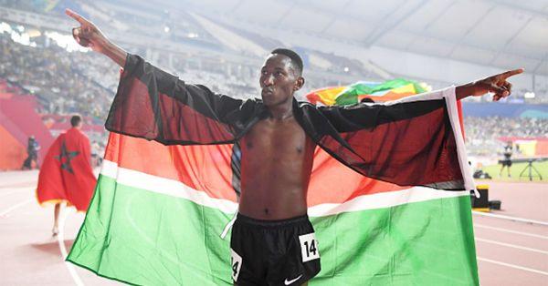 Conseslus Kipruto of Kenya celebrates winning gold in the Men's 3000 metres Steeplechase final during day eight of 17th IAAF World Athletics Championships Doha 2019 at Khalifa International Stadium on October 04, 2019 in Doha, Qatar.PHOTO/ GETTY IMAGES
