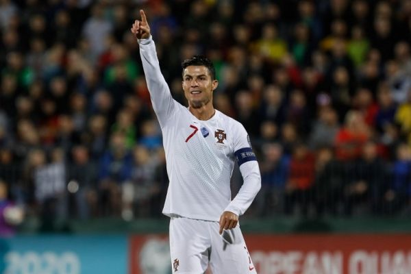 Cristiano Ronaldo of Portugal gestures during the UEFA Euro 2020 qualifying match between Lithuanua and Portugal on September 10, 2019 at LFF Stadium in Vilnius, Lithuania. PHOTO | AFP