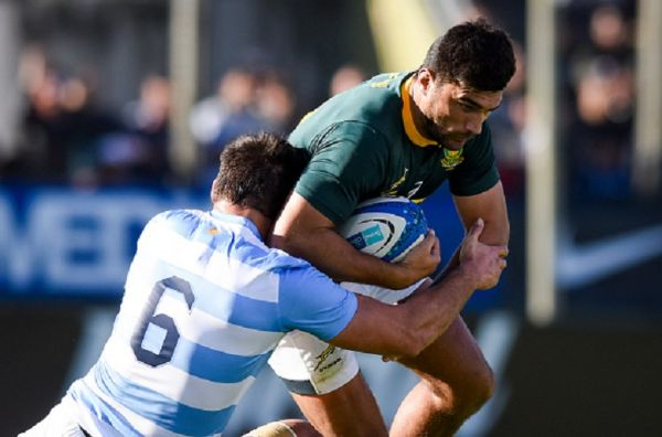 Damian De Allende of South Africa is tackled by Pablo Matera of Argentina during a match between Argentina and South Africa as part of The Rugby Championship 2019 at Padre Ernesto Martearena Stadium on August 10, 2019 in Salta, Argentina. PHOTO/ GETTY IMAGES