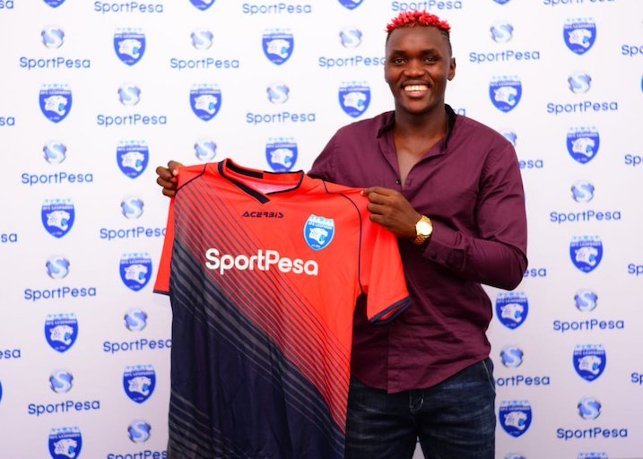 Defender David 'Cheche' Ochieng' during his unveiling as an AFC Leopards SC player on March 11, 2018. PHOTO/AFC Leopards