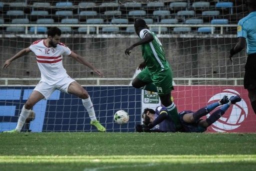 Dennis Oliech (C) of Kenya's Gor Mahia scores against Egypt's Zamalek during their CAF Confereration cup match at Kasarani Stadium in Nairobi, Kenya, on Februrary 3, 2019. Kenya's Gor Mahia won by 4-2 against Egypt's Zamalek. PHOTO/AFP