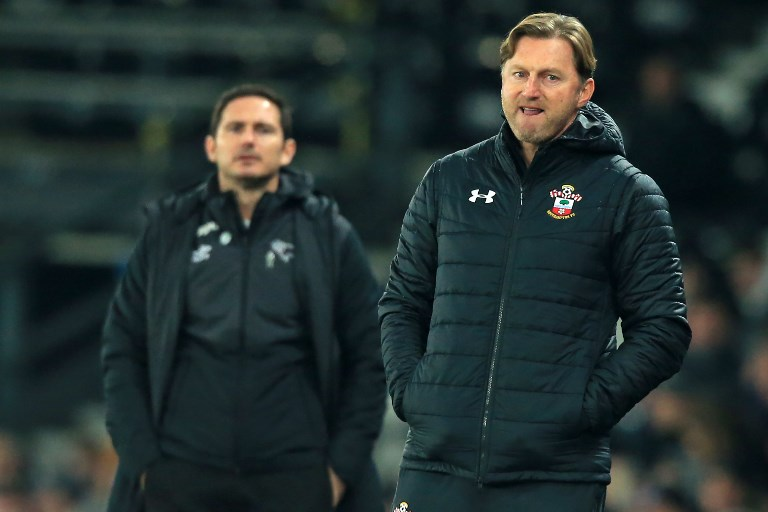 Derby County's English manager Frank Lampard (L) and Southampton's Austrian manager Ralph Hasenhuttl (R) react on the touchline during the English FA Cup third round football match between Derby County and Southampton at Pride Park Stadium in Derby, central England on January 5, 2019. The game finished 2-2. PHOTO/AFP