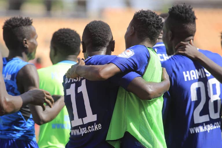 DOCKER'S PRIDE: Bandari FC players celebrate William Wadri's goal in the second half of the first 2019 SportPesa Cup semi final at the Main National Stadium in Dar-es-Salaam, Tanzania on January 25, 2018. PHOTO/SPN