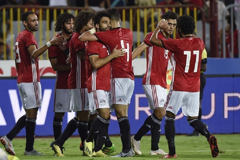 Egypts Mohamed Salah (C) celebrates his goal with teammates during the Africa Cup of Nations qualifier match between Egypt and Niger on September 8, 2018 in Borg el-Arab stadium near the Mediterranean city of Alexandria. PHOTO/GettyImages