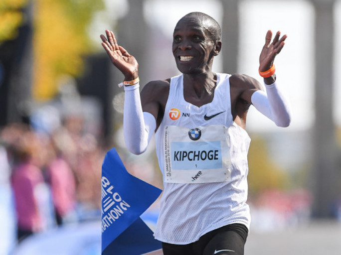 Eliud Kipchoge pictured after winning the 2018 BMW Marathon in a world record 2:01:39 on September 16, 2018. PHOTO/Berlin Marathon