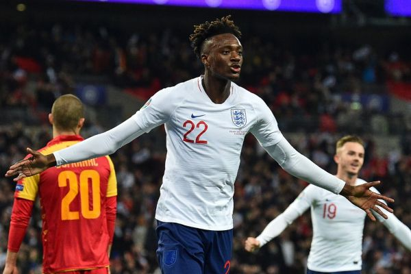 England's striker Tammy Abraham celebrates after scoring their seventh goal during the UEFA Euro 2020 qualifying first round Group A football match between England and Montenegro at Wembley Stadium in London on November 14, 2019. England won the game 7-0. PHOTO | AFP