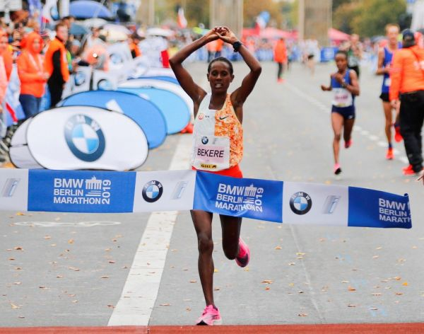 Ethiopian long-distance runner Ashete Bekere wins the 46th BMW Berlin Marathon on September 29, 2019 in Berlin, Germany. PHOTO | AFP