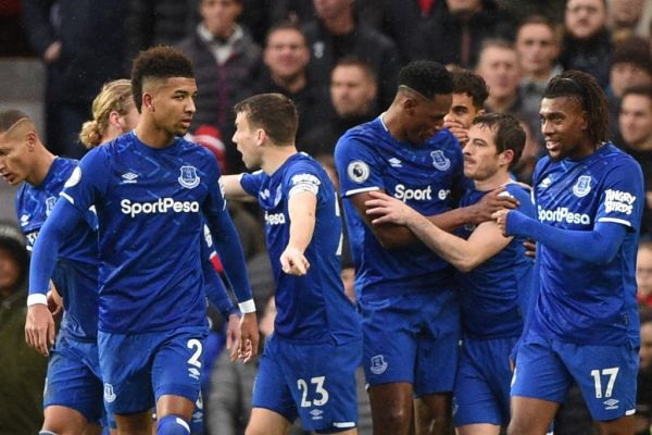 Everton players celebrate a Manchester United own goal for their first goal during the English Premier League football match between Manchester United and Everton at Old Trafford in Manchester, north west England, on December 15, 2019. PHOTO | AFP
