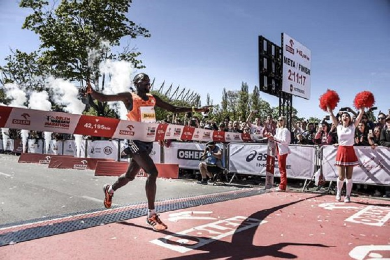 Ezekiel Omullo wins the Warsaw Marathon. PHOTO/IAAF