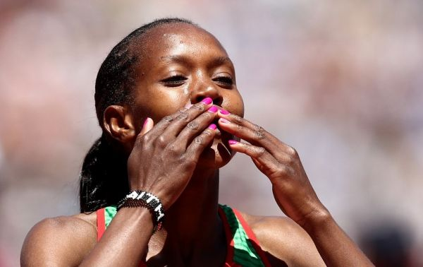 Faith Kipyegon of Kenya reacts after she won the women's 1500m during the Prefontaine Classic at Cobb Track & Angell Field on June 30, 2019 in Stanford, California. PHOTO/AFP