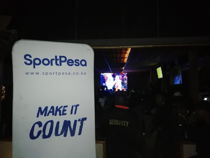 Fans watch the UEFA Champions League quarterfinal matches; Ajax versus Juventus and Manchester United vs Barcelona at Nairobi's Tamasha Restaurant when it hosted the SportPesa activations team on Wednesday, April 10, 2019. PHOTO/SPN