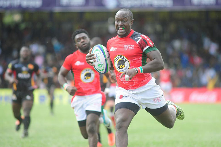 Felix Ayange scores a try for Kenya in their Africa Gold Cup 2018 match against Uganda at the RFUEA Grounds in Nairobi. PHOTO/Courtesy/World Rugby