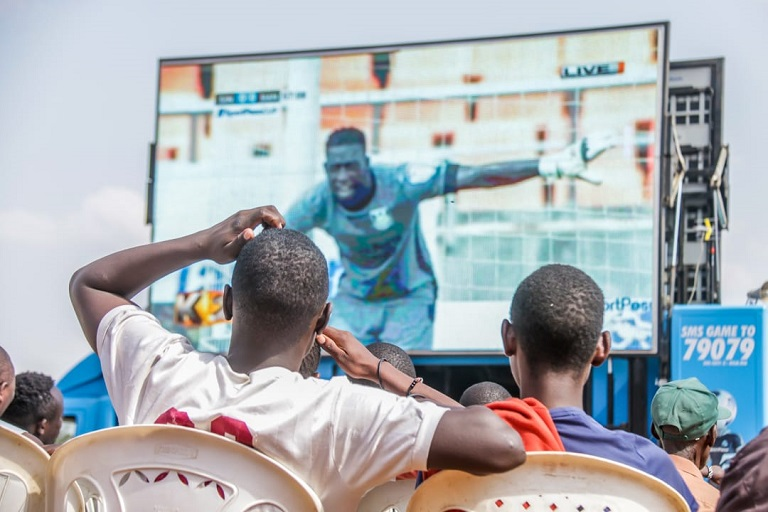 Football fans watch proceedings of 2019 SportPesa Cup matches at Kibera DC Grounds in Nairobi on January 22, 2019.PHOTO/SPN