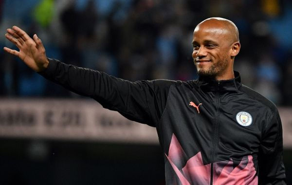 Former Manchester City defender, and Anderlecht's player manager Vincent Kompany applauds the fans following the Vincent Kompany testimonial football match between the Manchester City Legends and the Premier League All-stars XI at the Etihad Stadium in Manchester, northwest England, on September 11, 2019. PHOTO   AFP