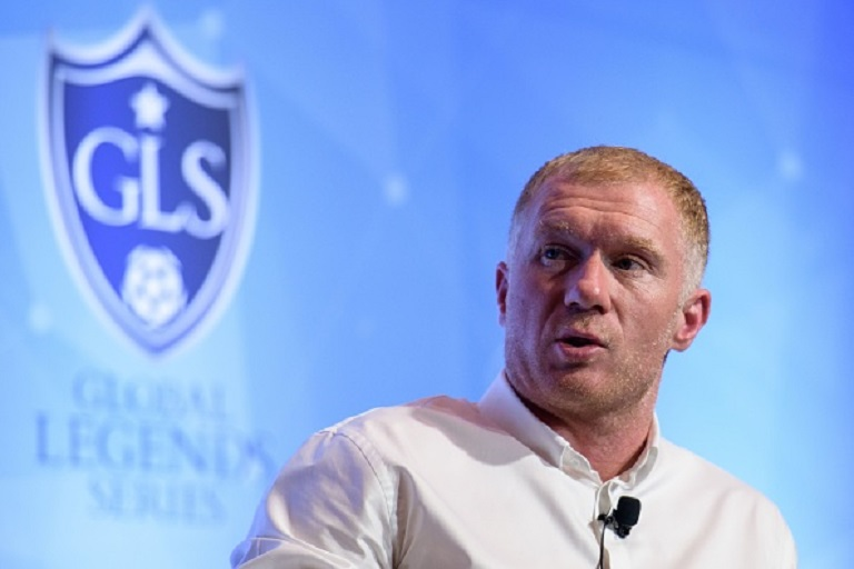 Former Manchester United and England football player Paul Scholes speaks in Hong Kong on August 8, 2018, during a promotional event in which he signed as Principal of the 433 Token cryptocurrency initiative. - Scholes is in Hong Kong to promote 433 Token, a blockchain-based system that will allow football fans to support young talent and interact with stars. PHOTO/GettyImages