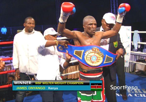 Former World Boxing Foundation (WBF) Welterweight champion, James Onyango, when he won the belt against Tanzanian Saidi Mundi at the Carnivore Grounds in Nairobi on December 2, 2017.PHOTO/SPN