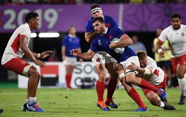 France's flanker Charles Ollivon (2R) is tackled by Tonga's prop Siua Halanukonuka (R) during the Japan 2019 Rugby World Cup Pool C match between France and Tonga at the Kumamoto Stadium in Kumamoto on October 6, 2019. PHOTO | AFP