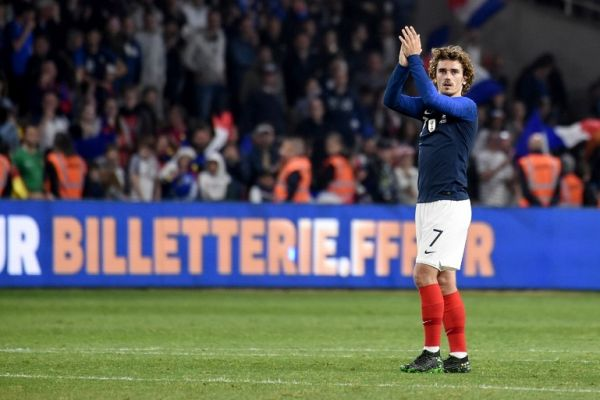 France's forward Antoine Griezmann celebrates at the end of the friendly match between France and Bolivia at La Beaujoire stadium in Nantes, Western France on June 2, 2019. PHOTO | AFP