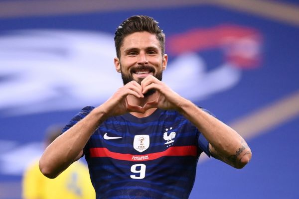 France's forward Olivier Giroud celebrates after scoring a goal during the International friendly football match between France and Ukraine, on October 7, 2020 in Saint-Denis, outside Paris. PHOTO | AFP