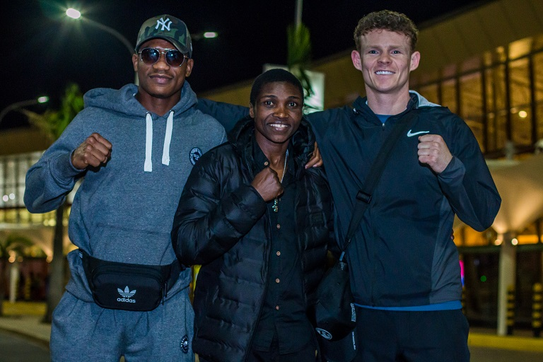 From L: Tanzania boxing sensation Hassan Mwakinyo, Fatuma 'Iron Fist' Zarika and their their British trainer, Declan O'Rourke upon arrival at Jomo Kenyatta International Airport in Nairobi from England, United Kingdom on March 16, 2019. PHOTO/ SPN