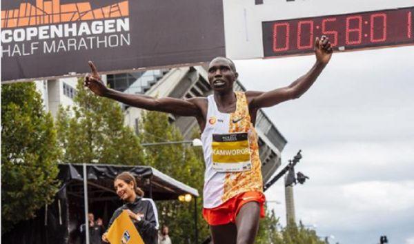 Geoffrey Kamworor breaks world half marathon record in Copenhagen, Denmark on Sunday, September 15, 2019. PHOTO | IAAF