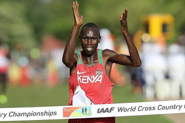 Geoffrey Kamworor winning his second straight title at the IAAF World Cross Country Championships Kampala 2017. PHOTO/IAAF