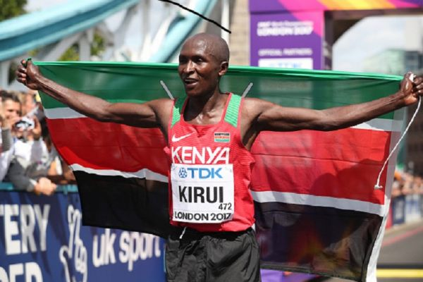 Geoffrey Kipkorir Kirui of Kenya celebrates winning the gold medal in the Men's Marathon during day three of the 16th IAAF World Athletics Championships London 2017 on August 6, 2017 in London, United Kingdom. PHOTO/ GETTY IMAGES