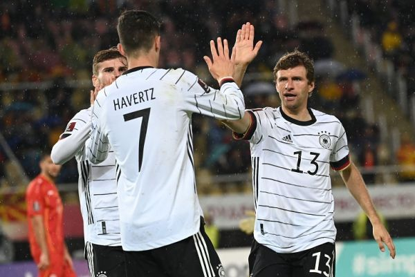 Germany's Kai Havertz (centre) celebrates with team-mates Thomas Müller (right) and Timo Werner after scoring the 1:0 goal. PHOTO | Alamy