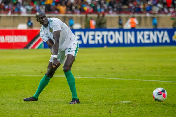 GETTING INTO THE SWING OF THINGS:  Kariobangi Sharks FC forward, Duke Abuya, celebrates scoring a penalty against Everton FC at the MISC Kasarani on Sunday, July 7, 2019. PHOTO/AFP