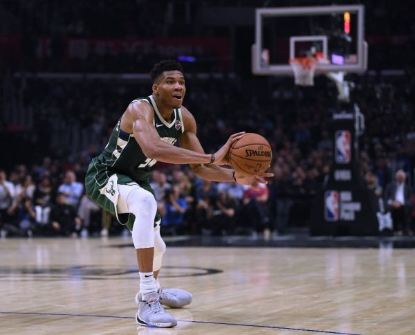 Giannis Antetokounmpo #34 of the Milwaukee Bucks picks up his dribble during a 129-124 Bucks win over the LA Clippers at Staples Center on November 06, 2019 in Los Angeles, California. PHOTO | AFP