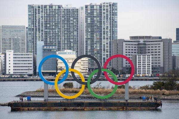 Giant Olympic Rings are installed at the waterfront area at Odaiba Marine Park in Minato Ward, Tokyo on January 17, 2020. Japan. The giant symbol is 32.6-meter-wide and 15.3-meter-long, the 2020 Summer Olympics is scheduled to take place from 24 July to 9 August 2020. PHOTO | AFP